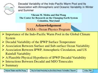 Decadal Variability of the Indo-Pacific Warm Pool and Its Association with Atmospheric and Oceanic Variability in Winter