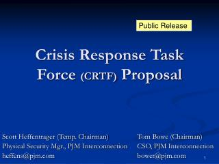 Crisis Response Task Force  (CRTF)  Proposal