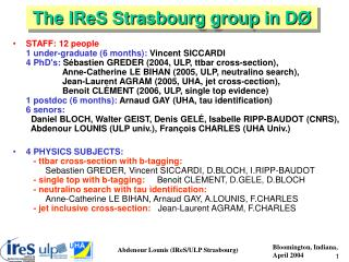 The IReS Strasbourg group in D