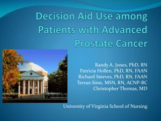 Decision Aid Use among Patients with Advanced Prostate Cancer
