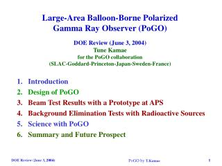 Introduction Design of PoGO Beam Test Results with a Prototype at APS