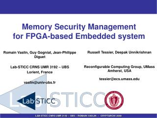 Memory Security Management  for FPGA-based Embedded system