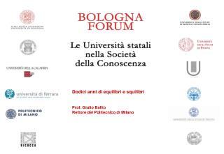 Dodici anni di equilibri e squilibri Prof. Giulio Ballio  Rettore del Politecnico di Milano