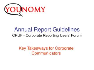 Annual Report Guidelines