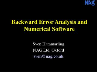 Backward Error Analysis and Numerical Software