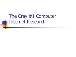 The Cray #1 Computer Internet Research