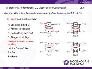 Digitalteknik 7.5 hp distans: 2.2 Vippor och sekvenskretsar 2s.1