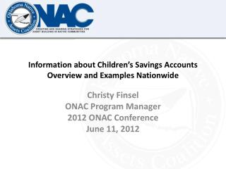 Information about Children's Savings Accounts   Overview and Examples Nationwide