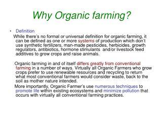 Why Organic farming?