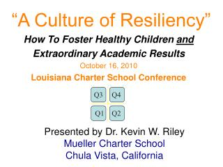 """""""A Culture of Resiliency"""" How To Foster Healthy Children  and  Extraordinary Academic Results"""