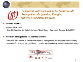 Global Compact - Apoyo de la ICEM