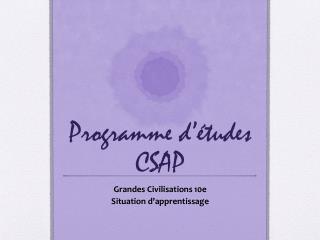 Programme d 'études  CSAP