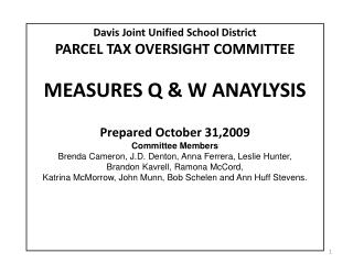 Davis Joint Unified School District PARCEL TAX OVERSIGHT COMMITTEE MEASURES Q & W ANAYLYSIS