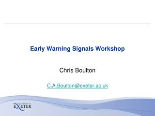 Early Warning Signals Workshop