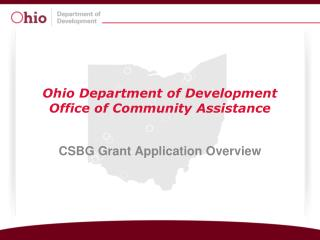 Ohio Department of Development Office of Community Assistance
