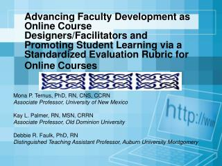 Mona P. Ternus, PhD, RN, CNS, CCRN Associate Professor, University of New Mexico
