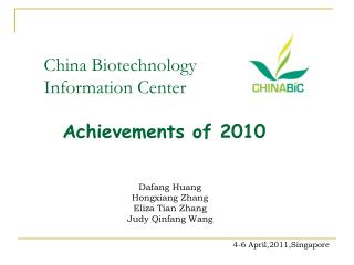China Biotechnology Information Center Achievements of 2010