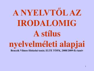 I. A nyelv �s a val�s�g