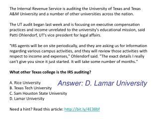 Answer: D. Lamar University