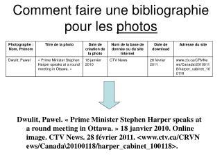 Comment faire une bibliographie pour les  photos