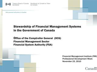 Financial Management Institute (FMI) Professional Development Week November 23, 2010