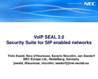 VoIP SEAL 2.0 Security Suite for SIP enabled networks