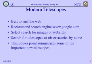 Modern Telescopes