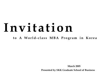 to A World-class MBA Program in Korea
