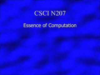 CSCI N207