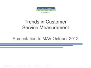 Trends in Customer  Service Measurement Presentation to MAV October 2012