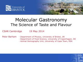 Molecular Gastronomy The Science of Taste and Flavour