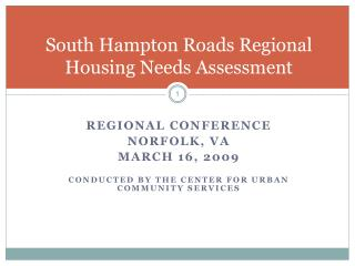 South Hampton Roads Regional Housing Needs Assessment