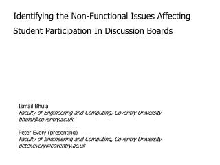 Identifying the Non-Functional Issues Affecting Student Participation In Discussion Boards