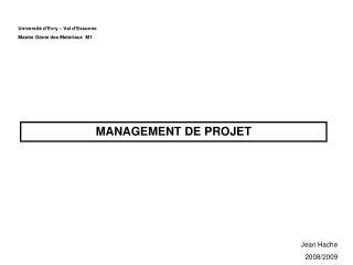 Université d'Evry – Val d'Essonne Master Génie des Matériaux  M1