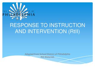 RESPONSE TO INSTRUCTION AND INTERVENTION (RtII)