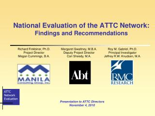 National Evaluation of the ATTC Network: Findings and Recommendations
