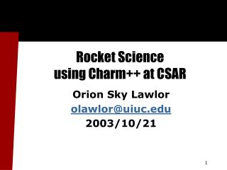 Rocket Science  using Charm++ at CSAR