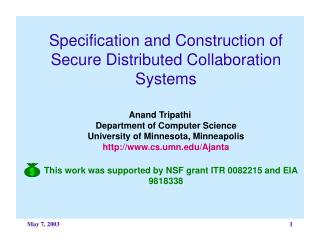Specification and Construction of Secure Distributed Collaboration Systems