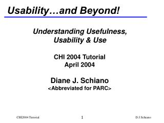 Usability…and Beyond!