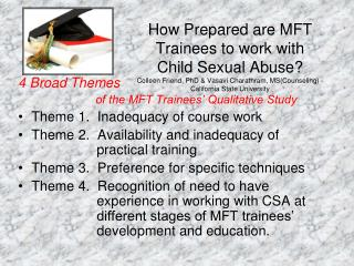 4 Broad Themes 	 			  of the MFT Trainees' Qualitative Study Theme 1.  Inadequacy of course work
