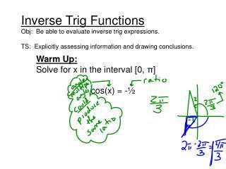 Warm Up: Solve for x in the interval [0,  π ] cos(x) = -½