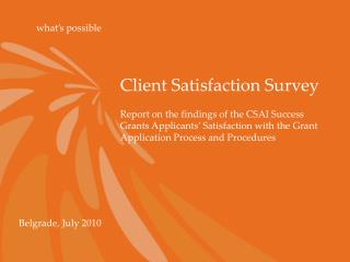 Client Satisfaction Survey