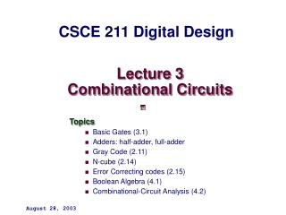 Lecture 3 Combinational Circuits