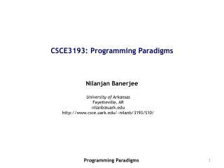CSCE3193: Programming Paradigms
