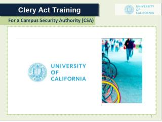 For a Campus Security Authority (CSA)
