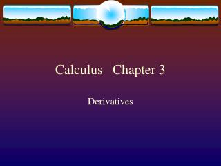 Calculus   Chapter 3