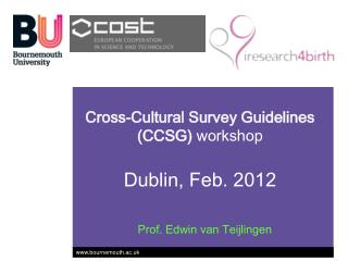 Cross-Cultural Survey Guidelines (CCSG)  workshop Dublin, Feb. 2012