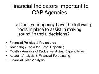 Financial Indicators Important to CAP Agencies