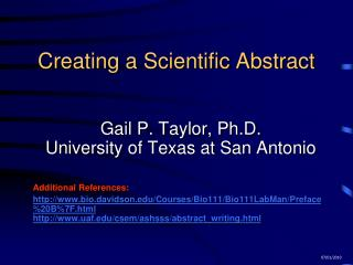 Creating a Scientific Abstract