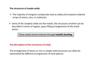 The structures of simple solids